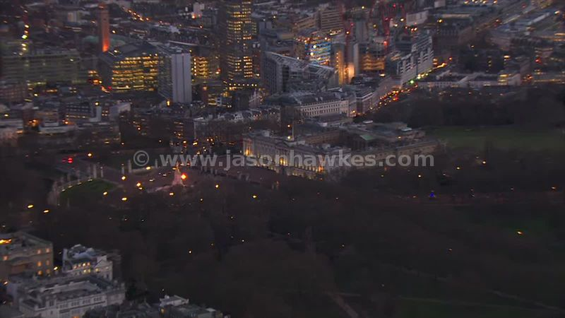 Aerial footage of Buckingham Palace at night, London