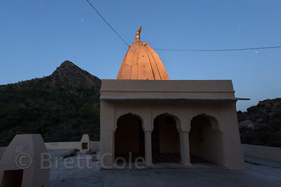 Night view of the 7th century Ajaypal Shiva Temple site, near Pushkar, Rajasthan, India