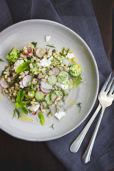 Farro salad with feta, cucumber, radish and dill, on a white plate.