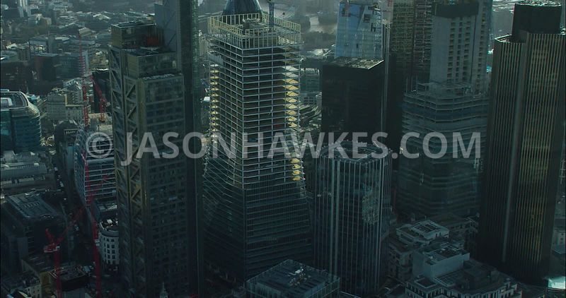 London Aerial footage, Bishopsgate close up