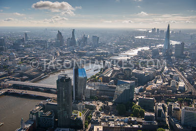 Aerial view of London River Thames and Southwark