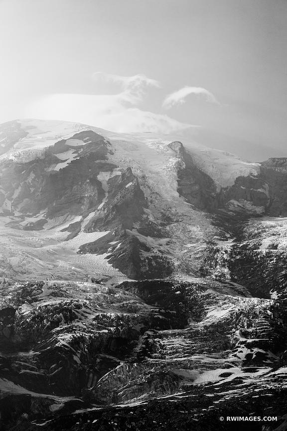 GLACIER MOUNT RAINIER NATIONAL PARK WASHINGTON BLACK AND WHITE VERTICAL