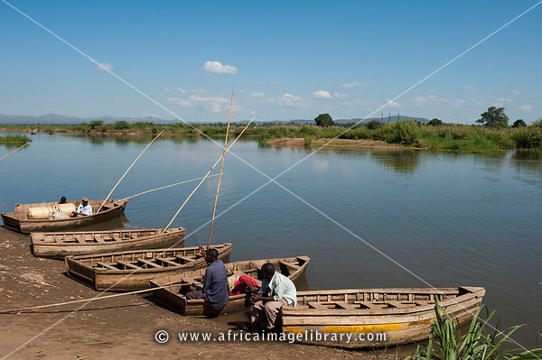 Boats on the bank of the shire river at the Elephant Marsh, Malawi