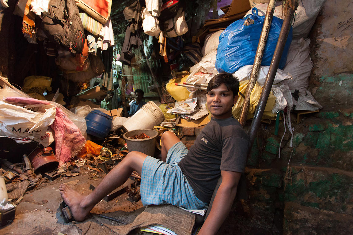 A makeshift recycling facility in an old decaying building in the Shyambazar area of Kolkata, India.