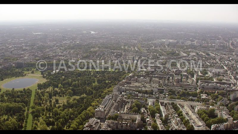 Aerial footage of Bayswater, Queensway, and Kensington Gardens , London.
