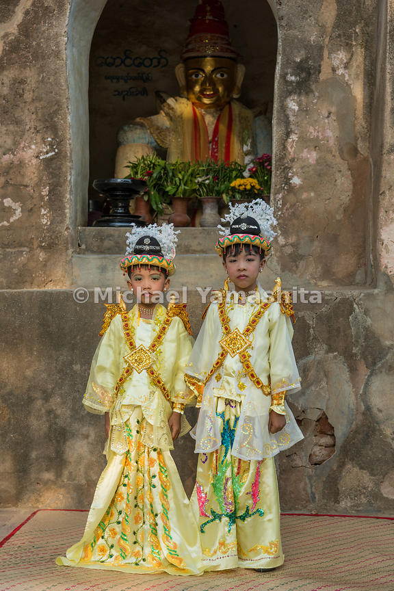 Two boys in princely attire at a shinpyu ceremony. Every Buddhist male from around the age of five to 19 has to enter the mon...