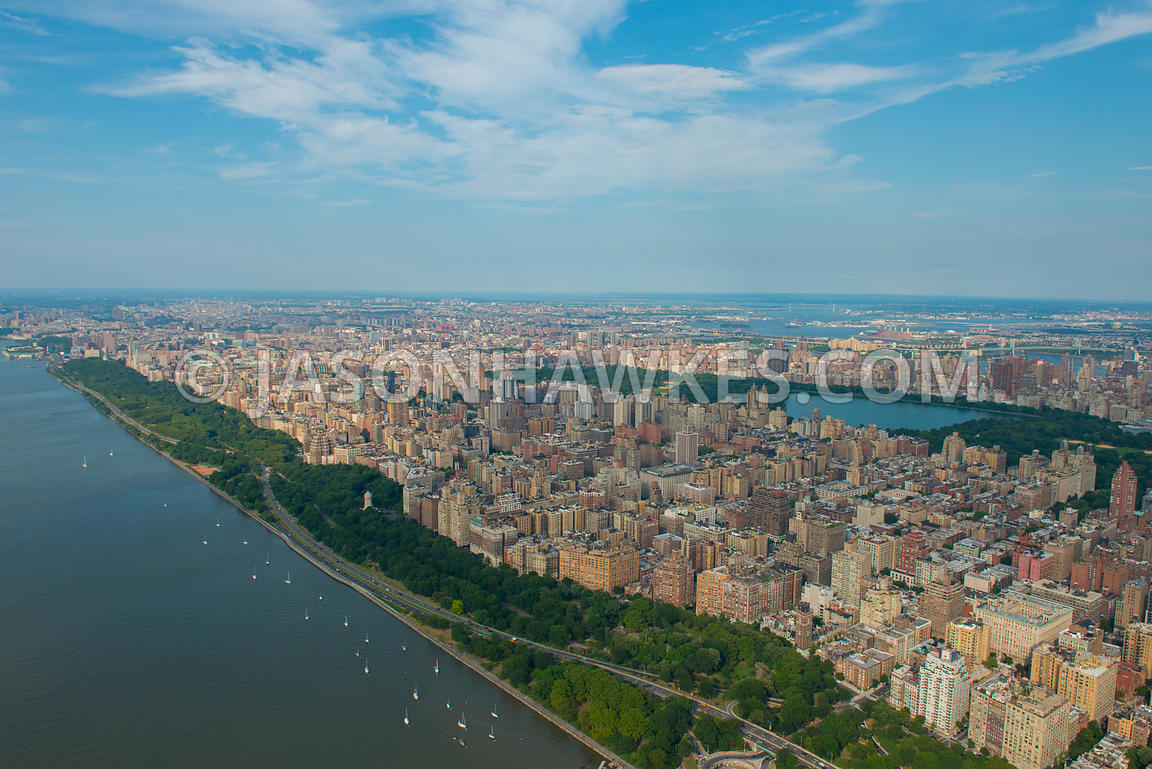 Aerial view looking across Manhattan from Upper West Side with Central Park in the middle