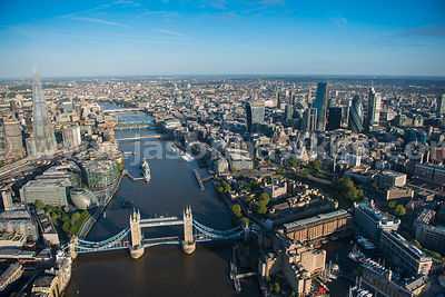 Aerial view of Tower Bridge, the Thames, London