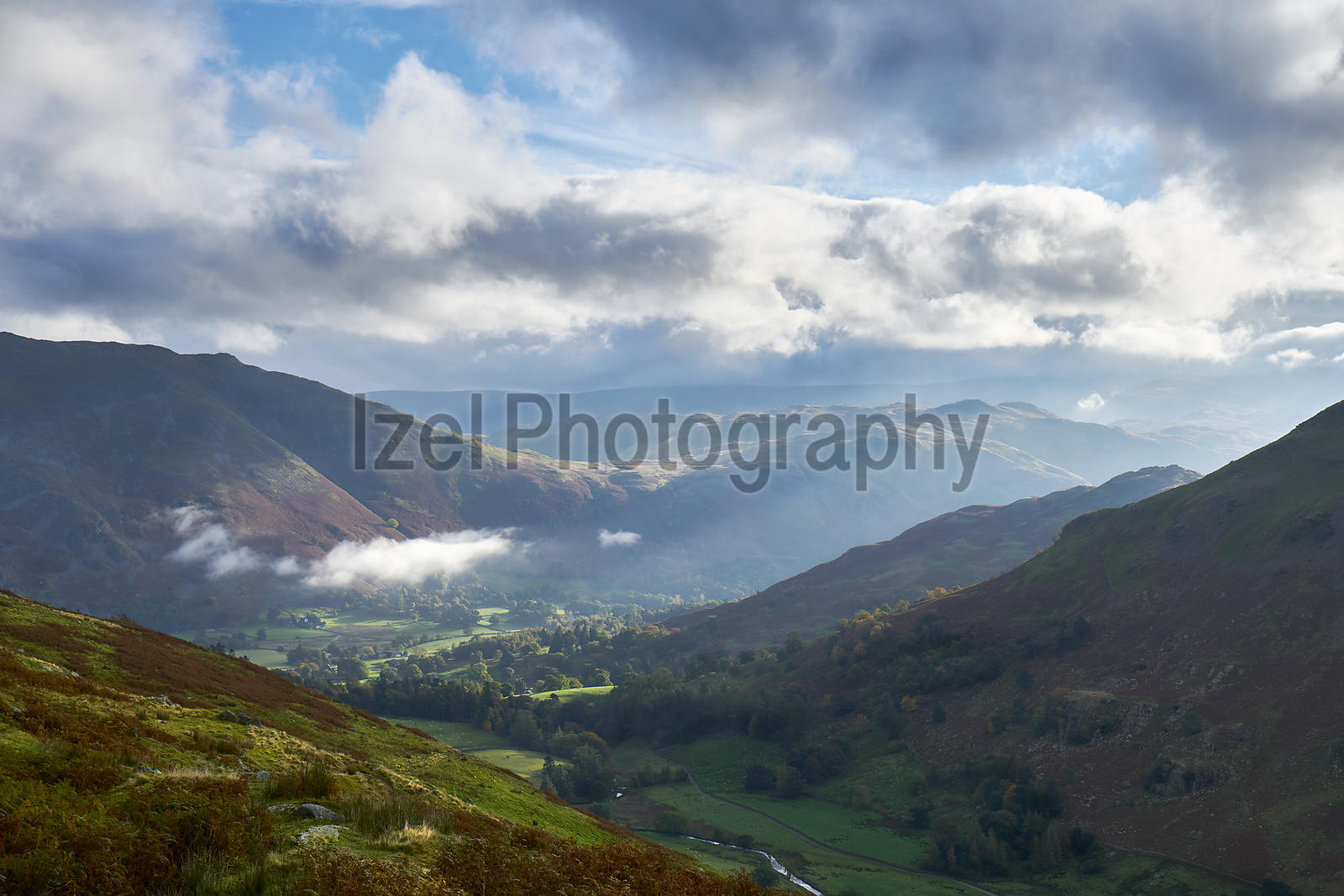 Looking down the trail towards Patterdale and Glenridding that leads up to the Hole in the Wall below Helvellyn in the Lake D...