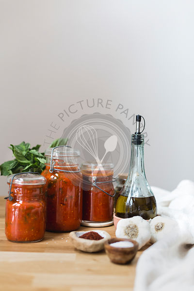 Homemade Tomato-Basil Sauce in Jars