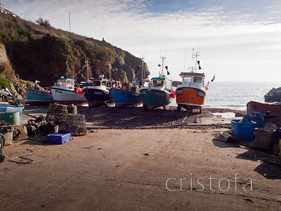 Fishing boats drawn up on Cadgwith beach