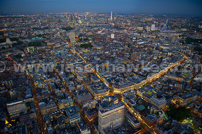 Aerial view of Fitzrovia and Soho, London