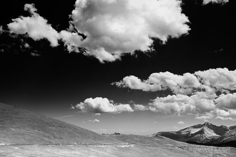 TRAIL RIDGE ROAD ROCKY MOUNTAIN NATIONAL PARK COLORADO BLACK AND WHITE