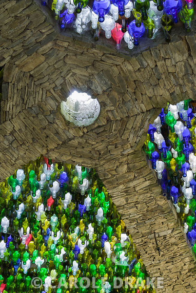 Detail of dome constructed using thousands of glass bottles. Westonbury Mill Water Garden, Pembridge, Herefordshire, UK