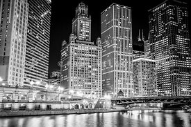 Chicago Downtown at Night Black and White Picture