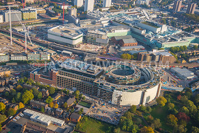 Aerial view of London, Shepherds Bush, Westfield White City.