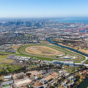 Aerial photo taken from Flemington & West Melbourne looking to the east towards Melbourne.