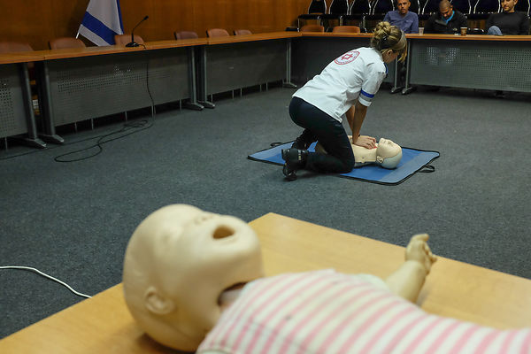 Employees and the Knesset Guard First Aid training practice  photos
