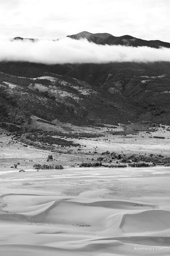 GREAT SAND DUNES NATIONAL PARK COLORADO BLACK AND WHITE VERTICAL