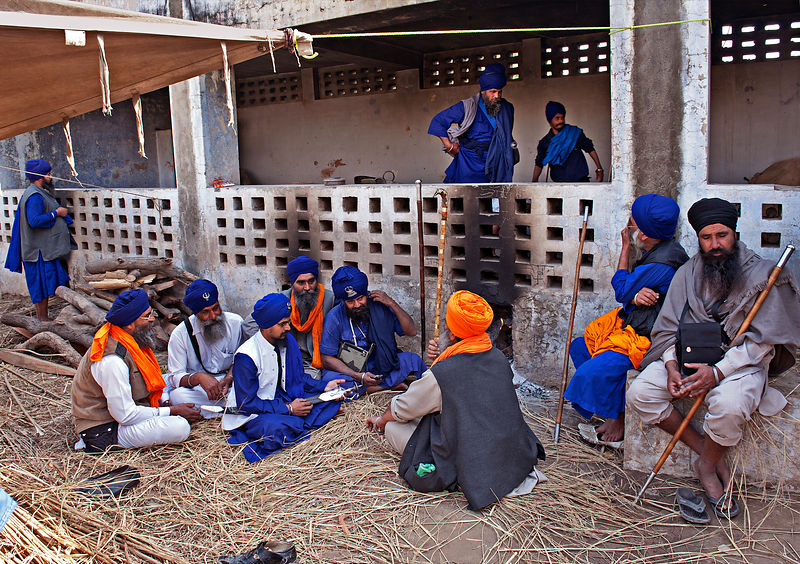 Group of Nihangs chatting and resting during the festival