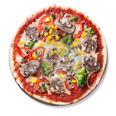 Vegetarian pizza with mushrooms and ruccola on white background