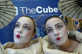 At the launch of a business incubation centre called The Cube at Galway Technology Centre were Macnas performers Laura O'Flyn...