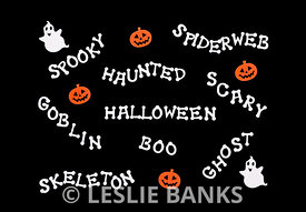 Halloween Words Decorated Mat