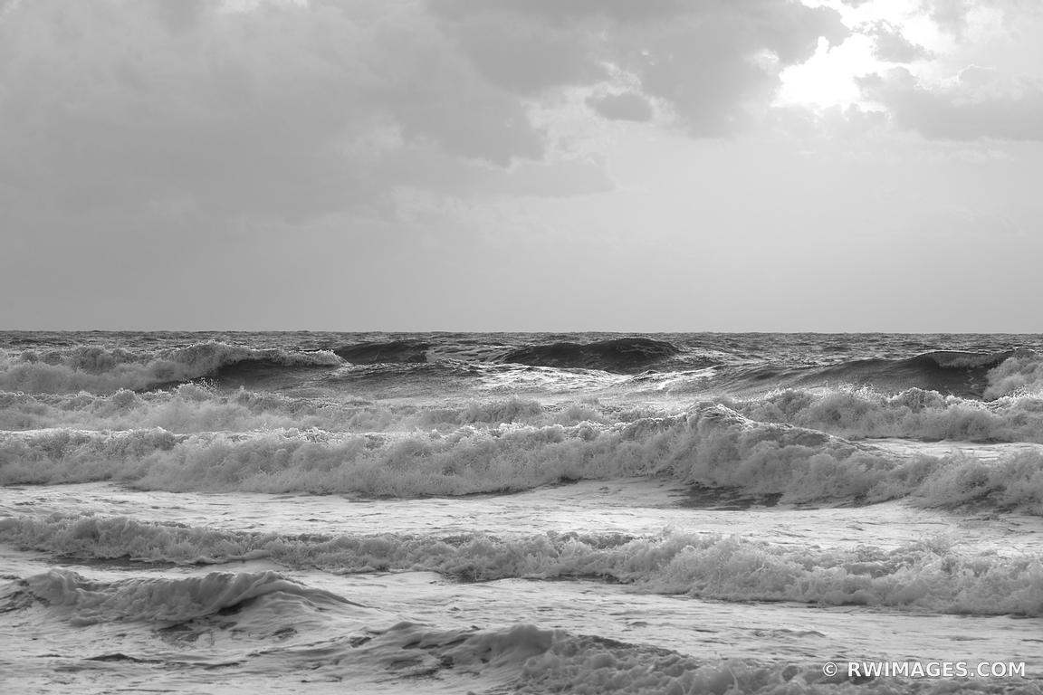 SUNRISE ATLANTIC OCEAN WAVES ASSATEAGUE NATIONAL SEASHORE MARYLAND BLACK AND WHITE