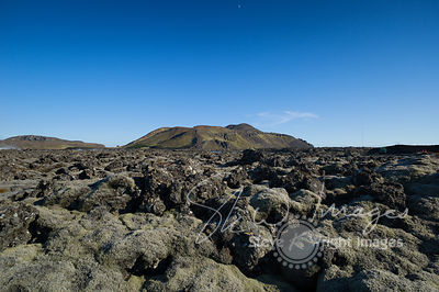 Lava landscape of The Blue Lagoon, under the Moon - Grindavík, Reykjanes Peninsula, Iceland