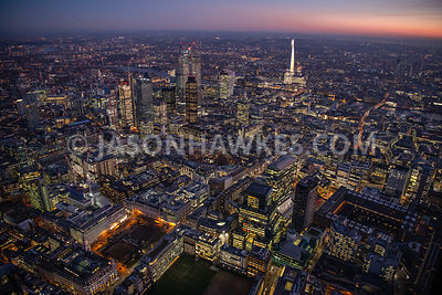 Night aerial view of Finsbury Circus and the City of London, London. Moregate.