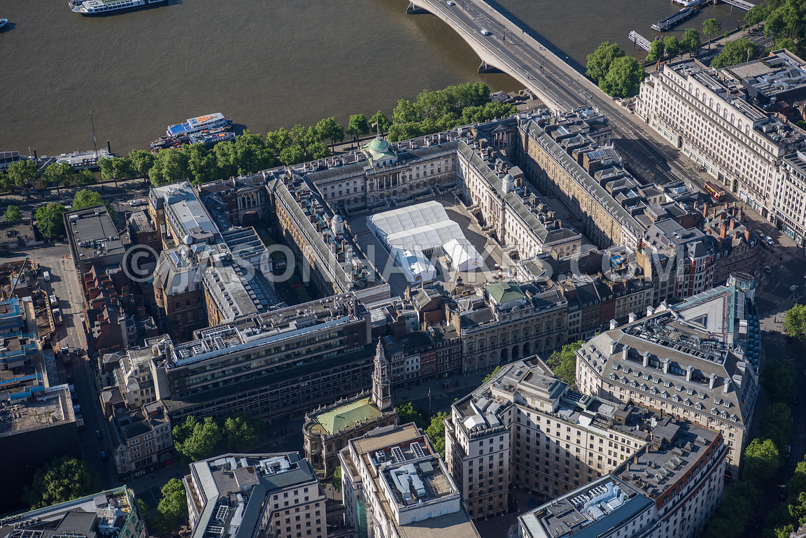 Aerial view of London River Thames and Somerset House
