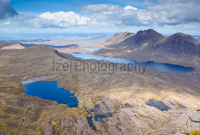 Summits of Baosbheinn and Loch a Bhealaich (right) and summits of Beinn Bhreac,Creag a Chinn Duibh (middle left) with Loch To...