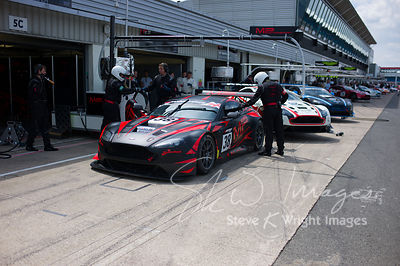 MP Motorsport's Aston Martin Vantage GT3 in the pit lane, pre-race, at the Silverstone 500 - the third round of the British G...