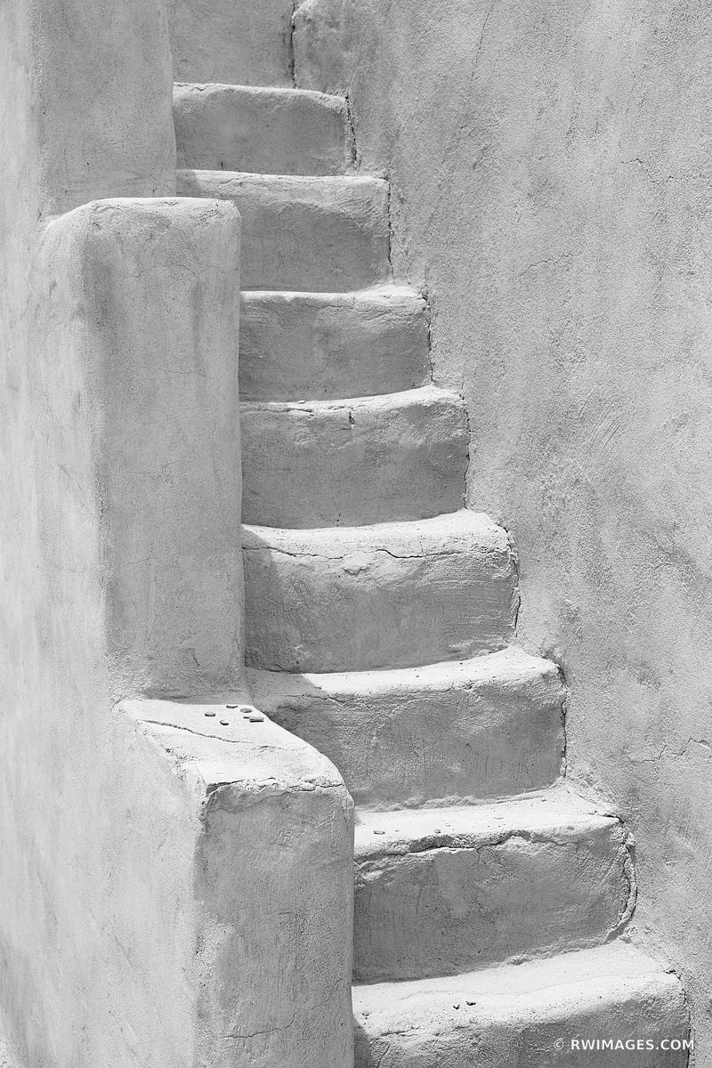 STAIRS ADOBE SOUTHWESTERN ARCHITECTURE NEW MEXICO BLACK AND WHITE VERTICAL