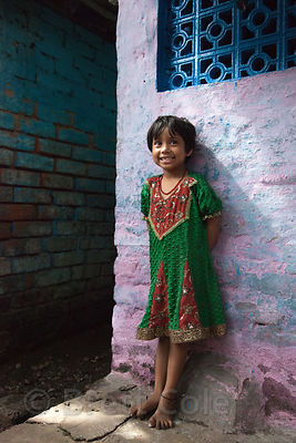 Portrait of a girl in the Fakir Bagan area of Howrah, India