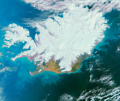 EARTH Iceland -- 26 Feb 2007 -- This Envisat image features a snow-covered Iceland, a volcanic island famous for its volcanoe...