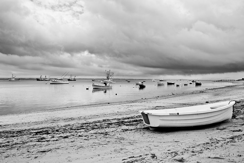 FISHING BOATS IN HARBOR CHATHAM CAPE COD MASSACHUSETTS BLACK AND WHITE