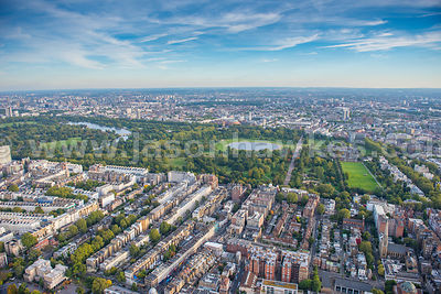Aerial view of Bayswater and Kensington Gardens, London
