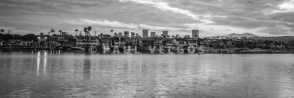 Newport Beach Skyline Black and White Panorama Photo