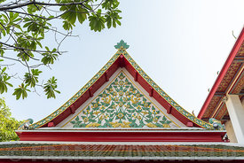 Beautiful architectural roof detail at  Wat Arun temple in Bangkok, Thailand.