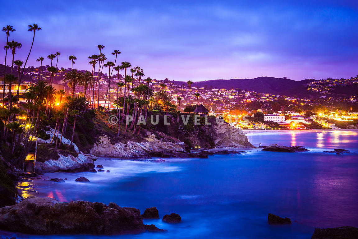 Laguna Beach California City at Night Picture
