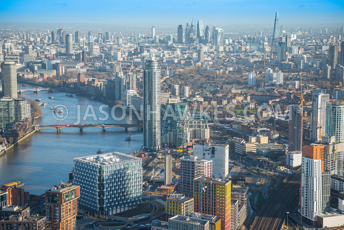 Aerial view of London, St George's Wharf Tower with Vauxhall Bridge and redevelopment at Nine Elms.