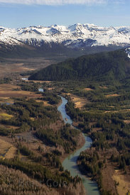 Aerial view of Coastal Alaska south of Cordova