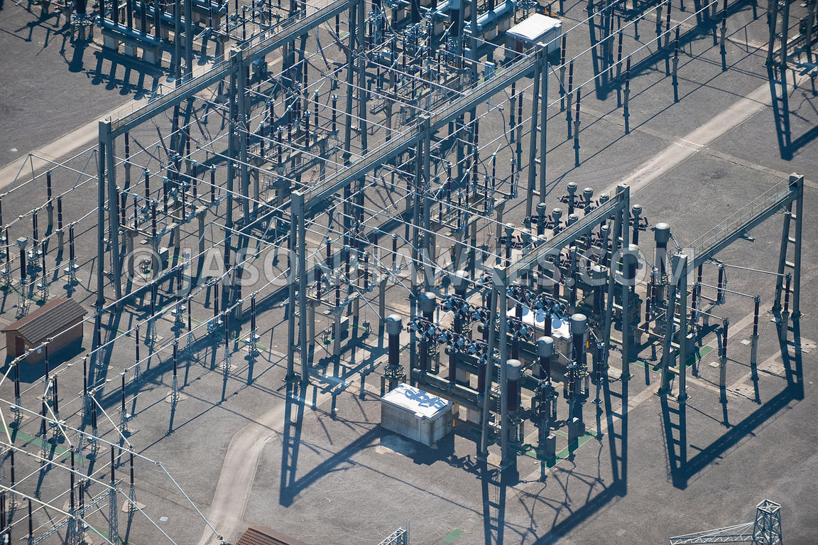Aerial view of Electrical substation