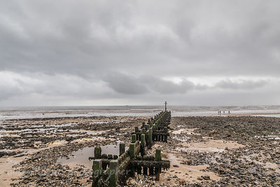 West Runton beach on a cloudy day
