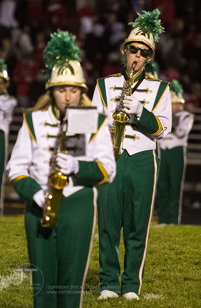 The Iowa City West High MArching Band performs prior to the Battle for the Boot at Iowa City West Friday night, October 5, 20...