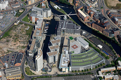aerial photograph of Leeds  Dock, Leeds, Yorkshire UK including the Royal Armouries Museum. Leeds Dock was formerly called  N...
