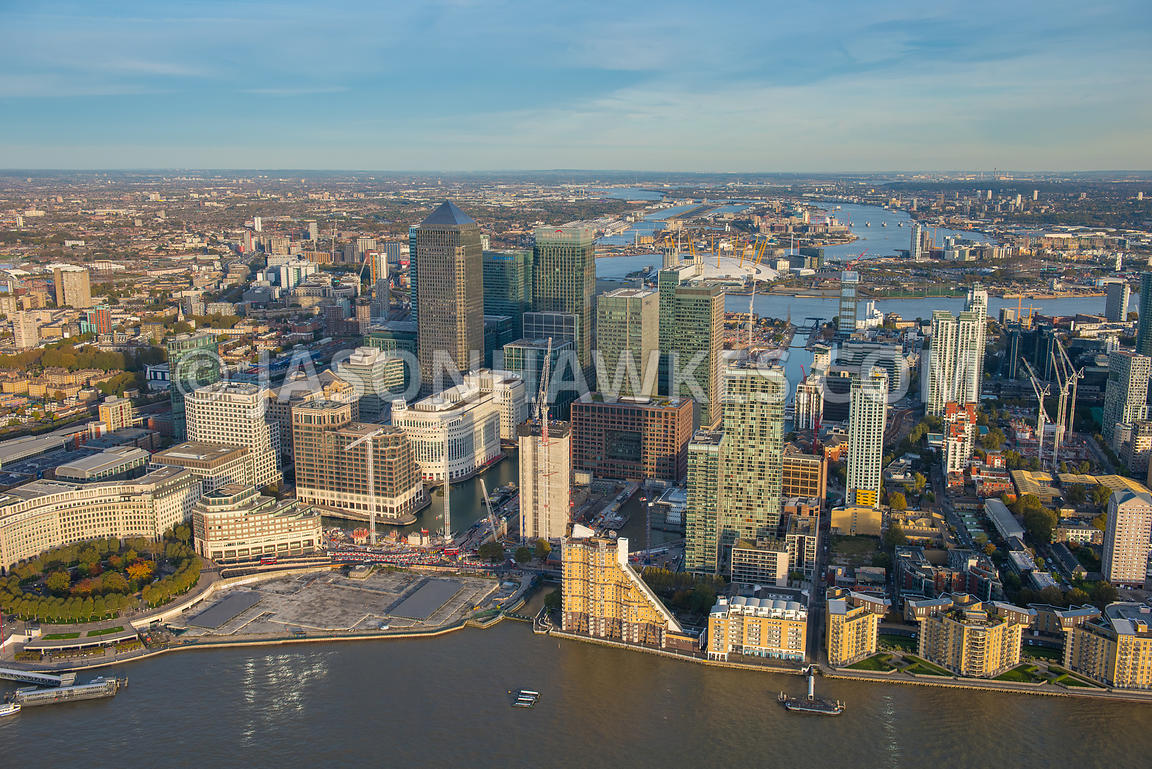 Aerial view of Canary Wharf, Isle of Dogs, London. Westferry Circus,.Westferry Road,.Bank Street,.South Quay Walk,.Chandlers ...