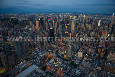 Aerial view of Hudson Yards, a redevelopment project in Manhattan, looking towards the skyscrapers of Midtown