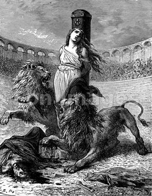 Christian woman sacrificed to lions in Roman arena